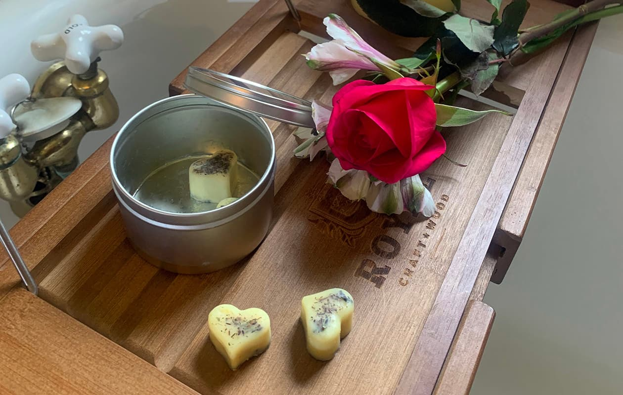bath soaps and flowers