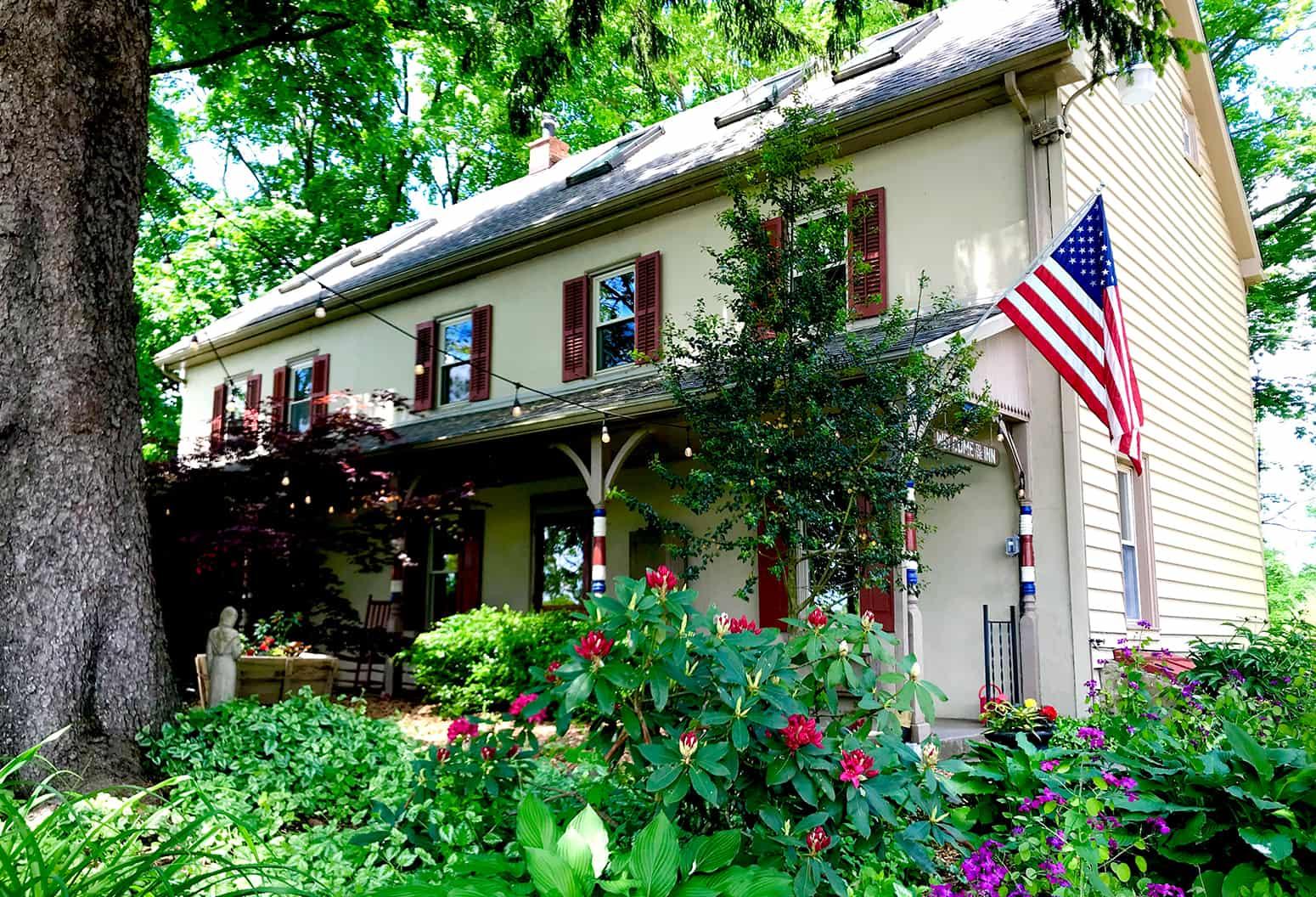 Inn exterior with American flag