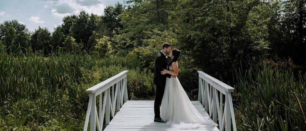 Newlyweds kissing on the bridge