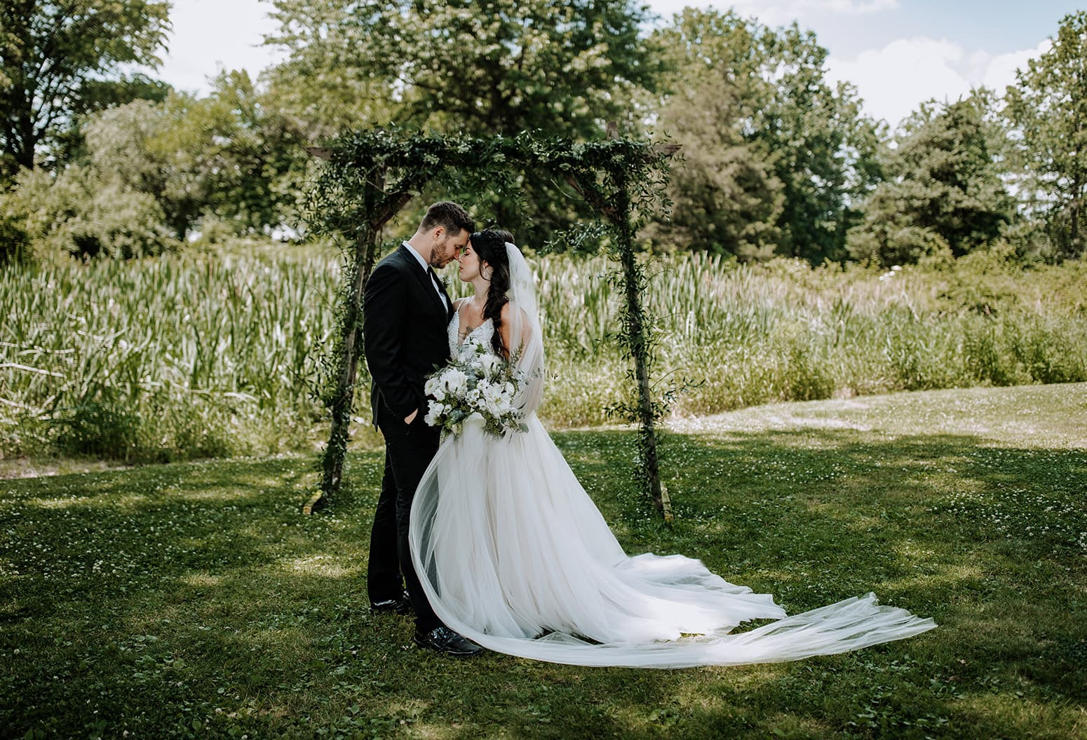 bride and groom on the property